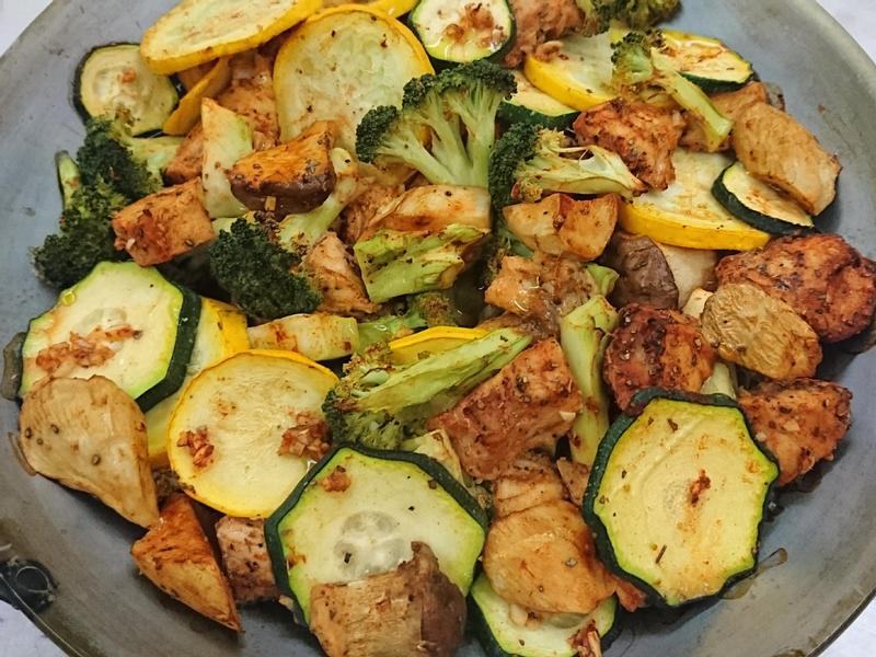 紐奧良香料烤時蔬雞胸肉(櫛瓜)