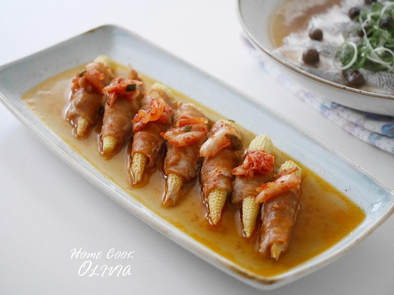 泡菜豬肉捲玉米筍❤電鍋小廚娘