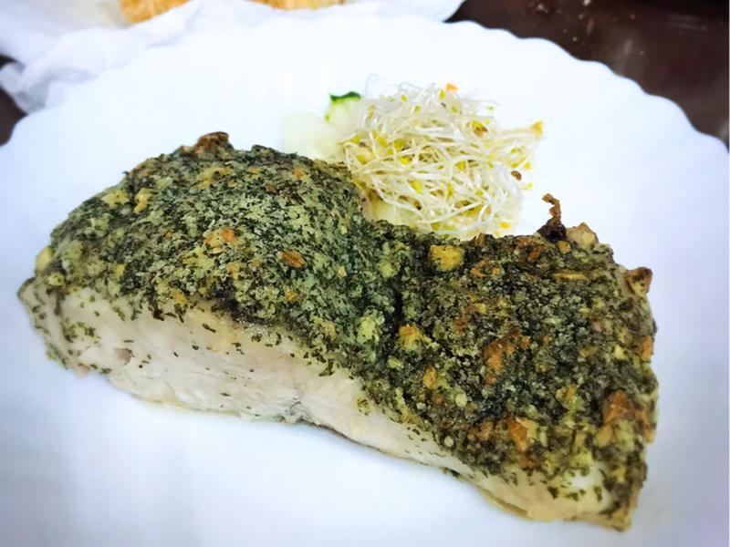 香烤脆皮海鱸魚排