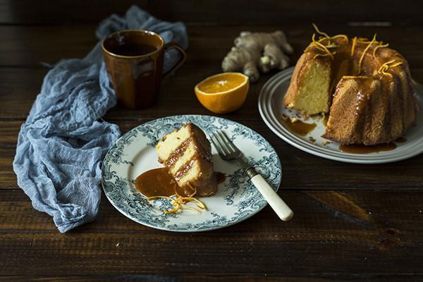 薑味柳橙磅蛋糕佐薑汁太妃糖醬
