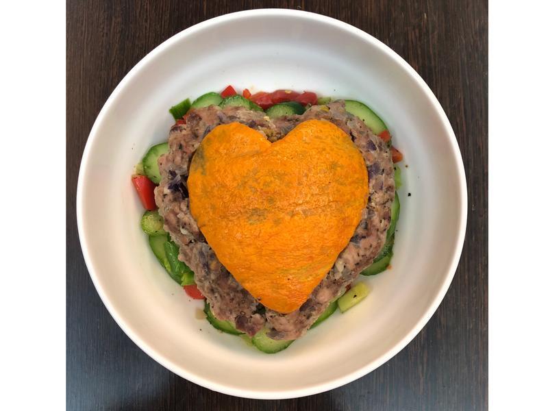 高蛋白-七夕情人節愛心南瓜蒸肉餅