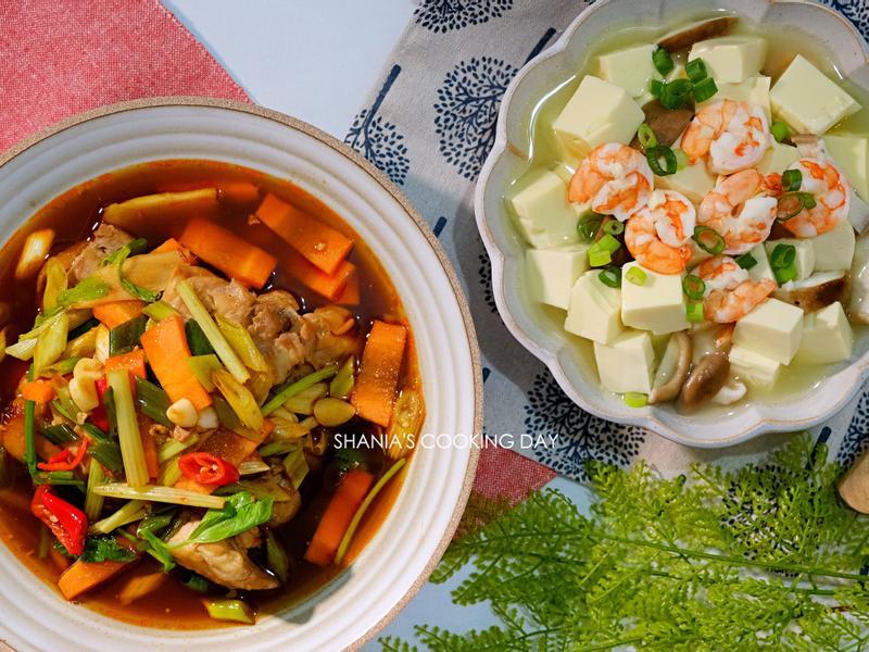 【水波爐料理】鮮蝦豆腐羹&酒香花雕嫩雞