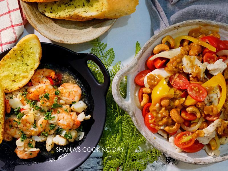 【水波爐料理】西班牙蒜香海鮮&嫩雞溫沙拉