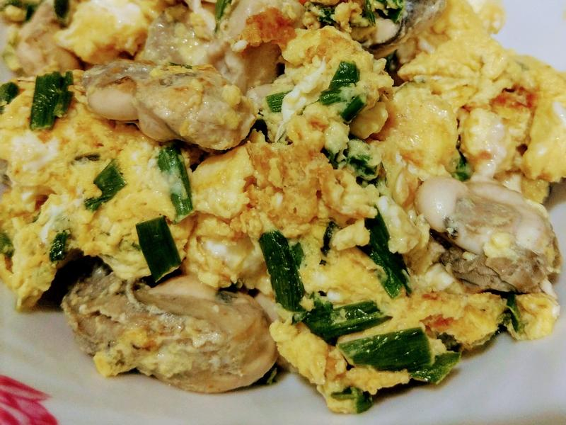 牡蠣炒韭菜蛋