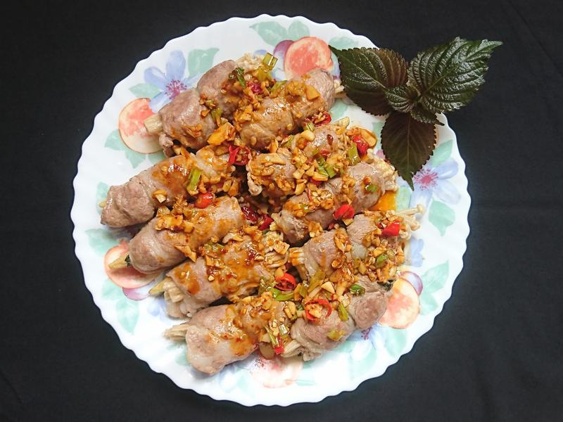 紫蘇豬肉捲#金針菇#玉米筍