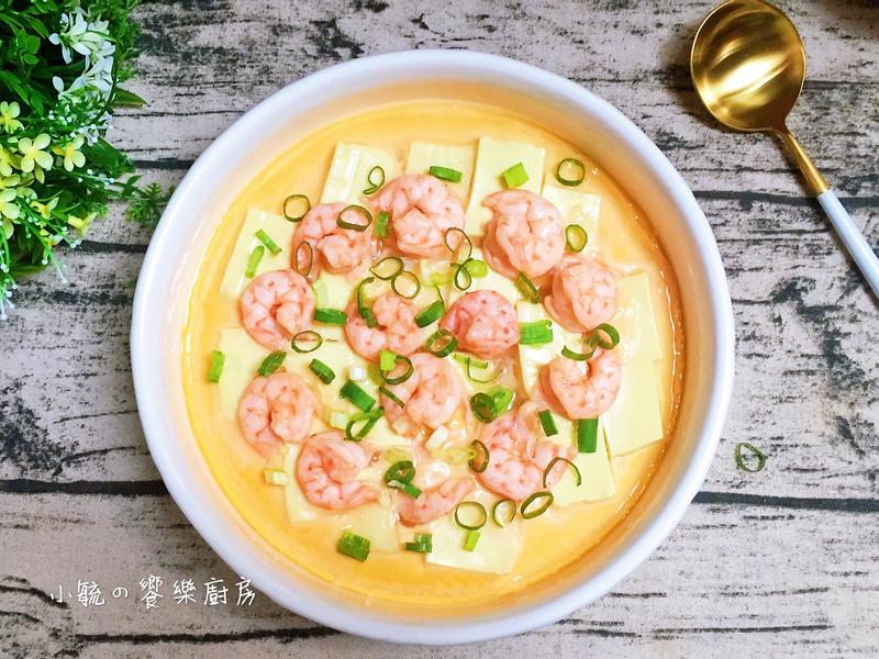 🦐蝦仁豆腐蒸蛋~電鍋料理