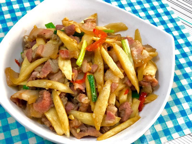 筊白筍炒鹹豬肉