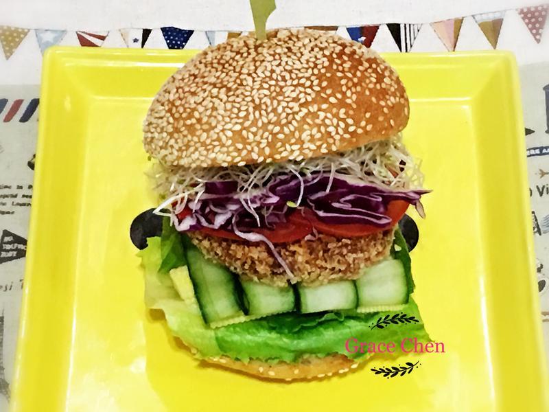 🌈豆泥杏菇酥排🍔漢堡🌈[全素]
