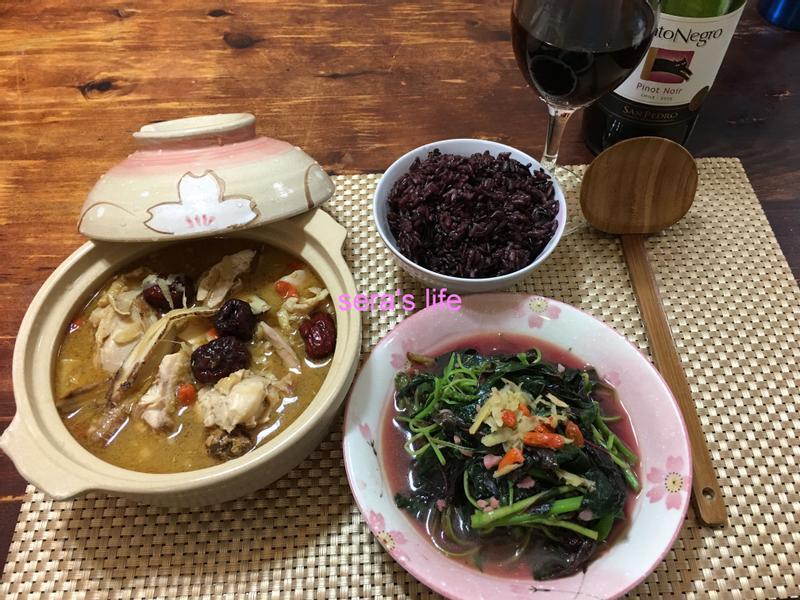 生理期全餐_快速麻油雞+麻油紅莧菜