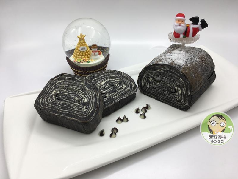 黑可可優格千層蛋糕卷~聖誕節派對點心