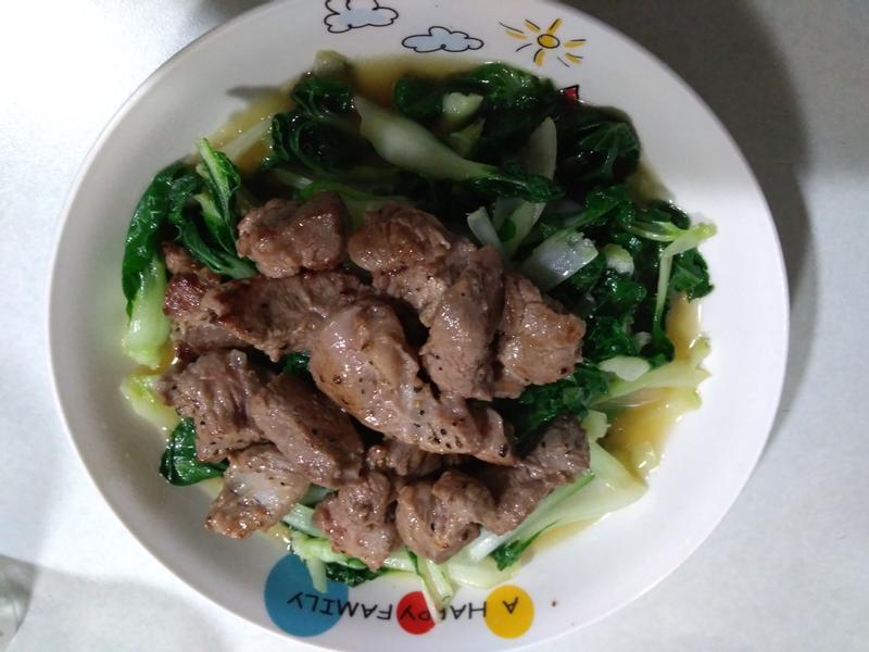 牛奶白菜&蒜香牛肉
