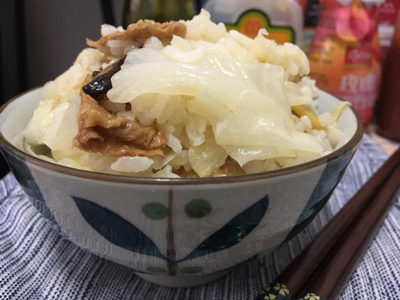 豆皮香菇高麗菜飯(素食可)