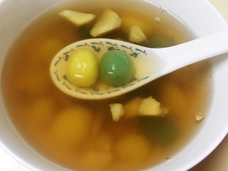 雙色地瓜圓甜湯😋