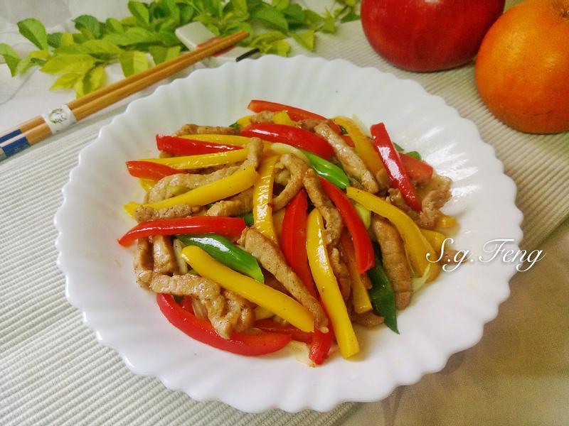 水果彩椒炒肉絲