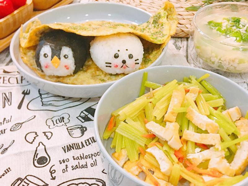 芹菜炒豆腐、芹菜葉煎蛋、芹菜葉蛋花湯