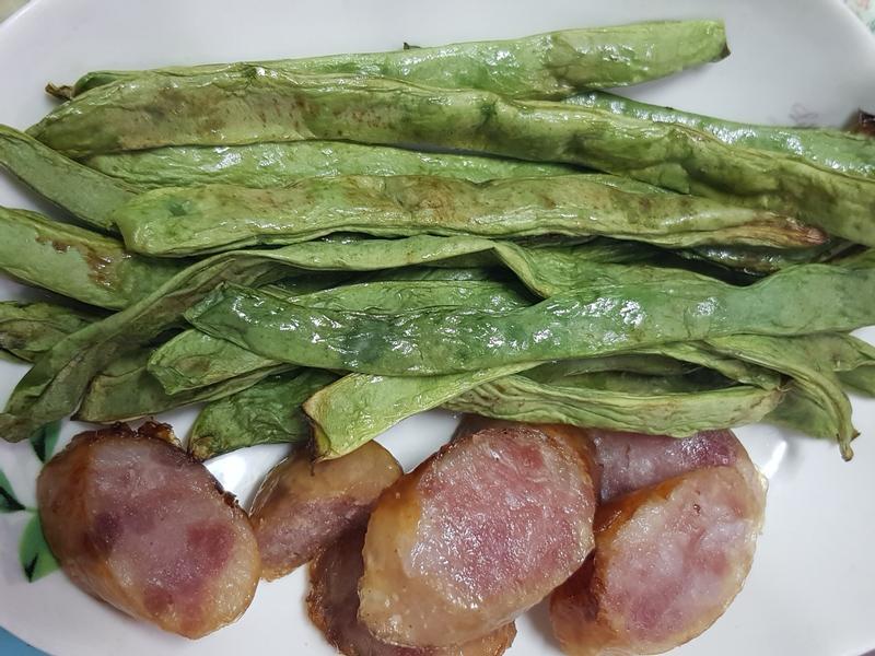 氣炸扁豆與香腸