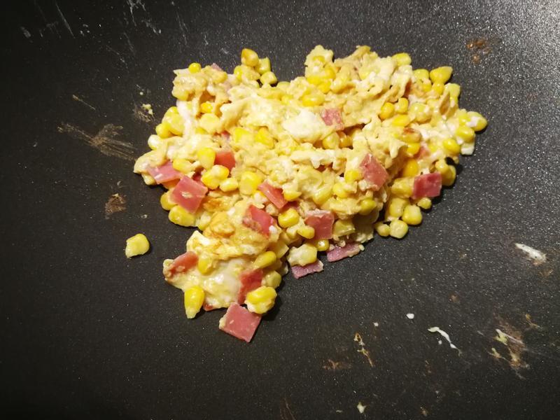 簡單蛋料理-火腿玉米炒蛋