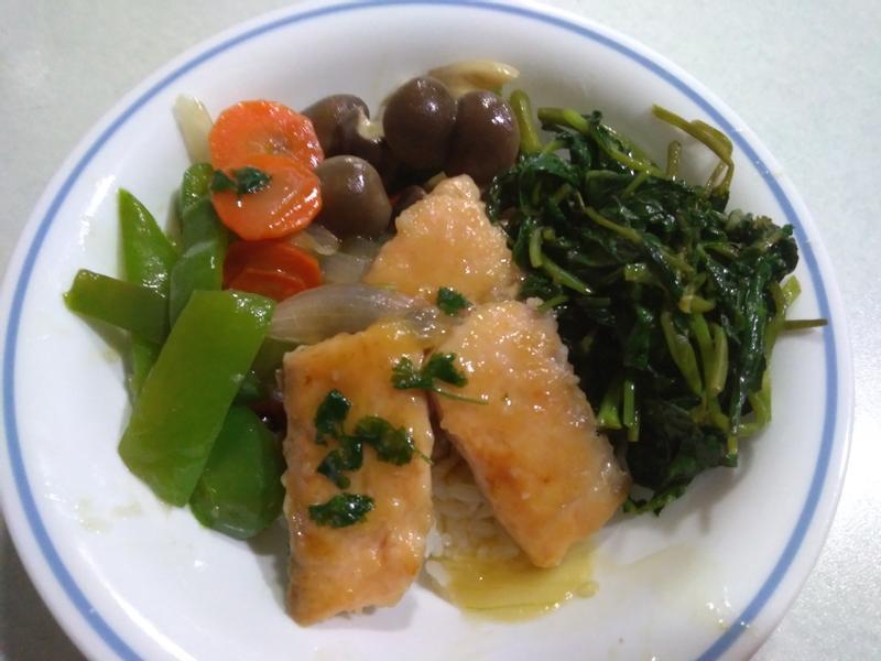 糖醋鮭魚排& 日式味噌空心菜