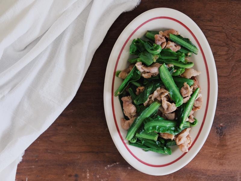 山蘇炒豬肉