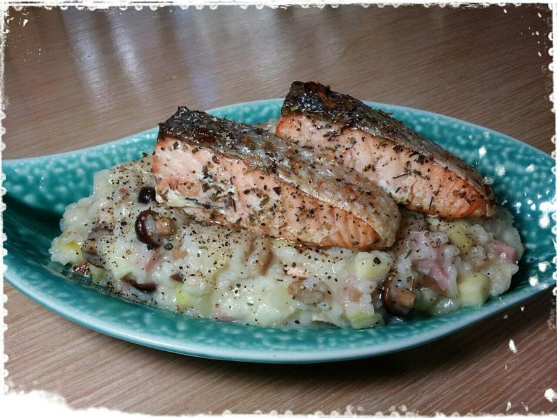 乳酪鮭魚野菇燉飯