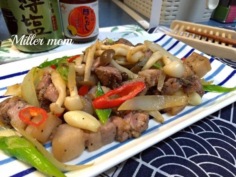 金銀菇炒鹹豬肉【好菇道營養料理】