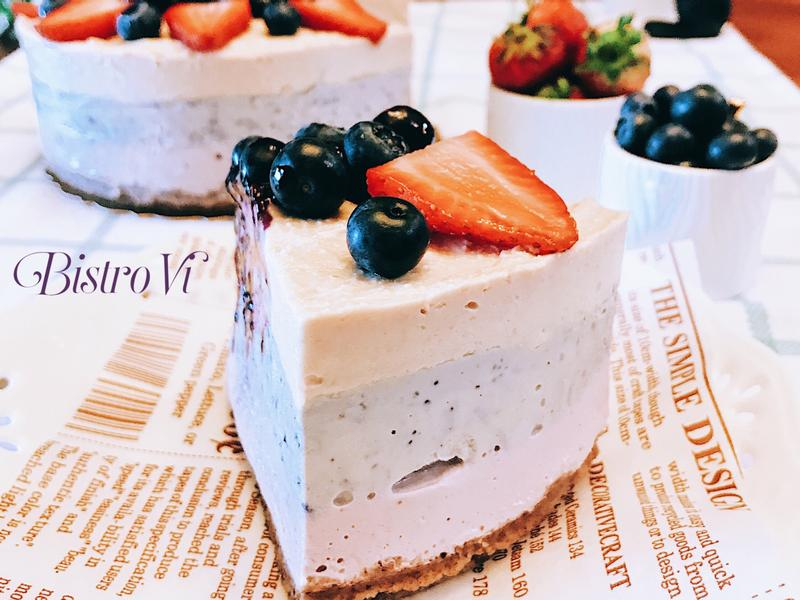 無糖無粉免烤箱~草莓藍莓腰果起司蛋糕