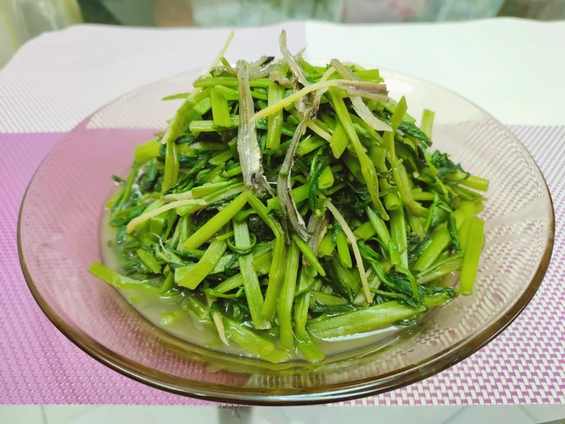 水炒小魚干空心菜