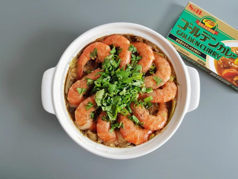 咖哩鮮蝦粉絲煲 (S&B金牌中辣咖哩)