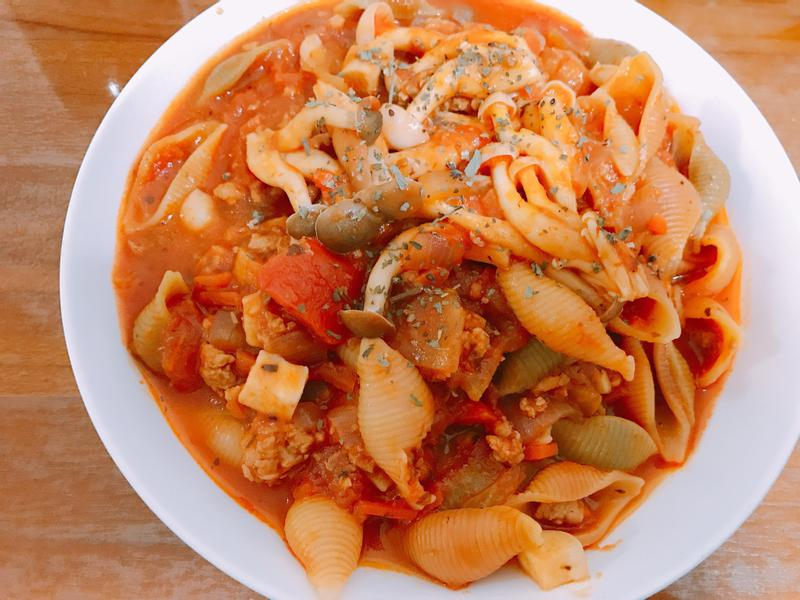 Prego義大利醬番茄豬肉野菇義大利麵