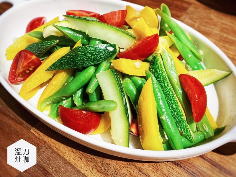 四季豆櫛瓜溫沙拉(減醣料理)