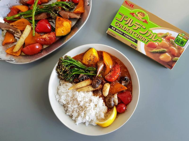 蘑菇茄汁蔬食咖哩 (S&B金牌素咖哩)