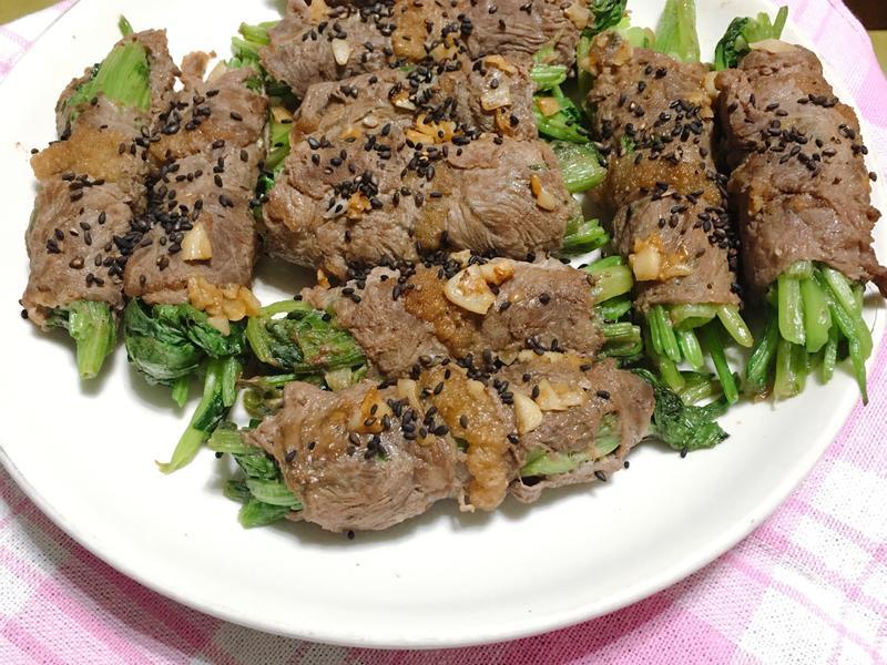 蒜香芝麻菠菜牛肉捲
