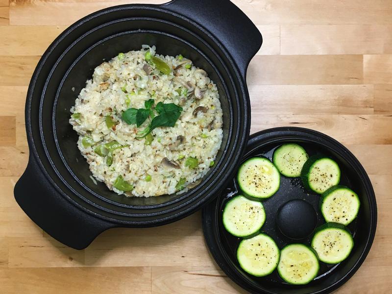 義式香料野菇燉飯+橄欖油櫛瓜