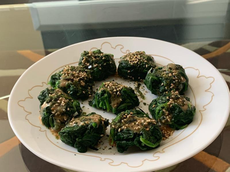 超簡易料理:日式胡麻醬菠菜