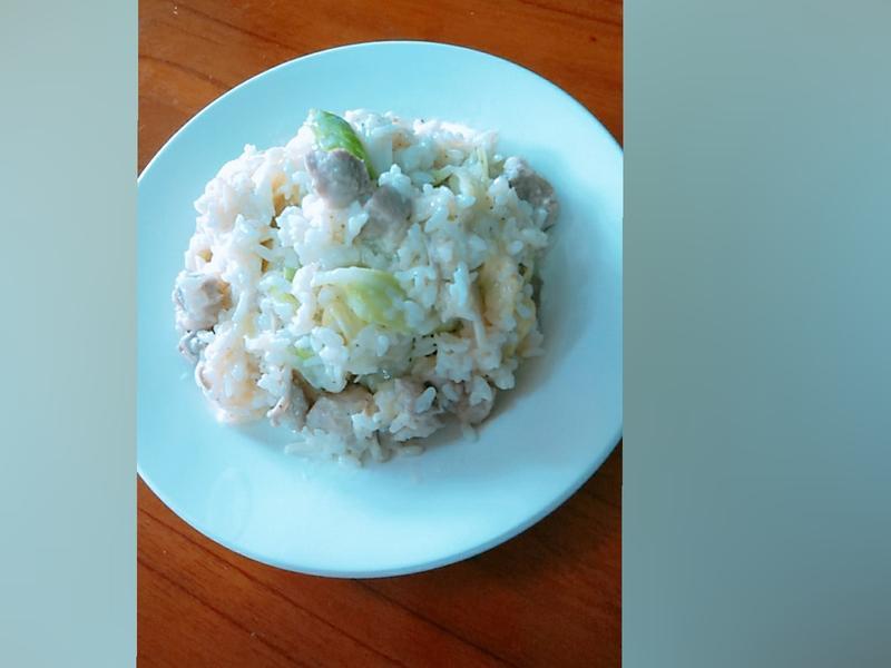 白醬時蔬豬肉燉飯