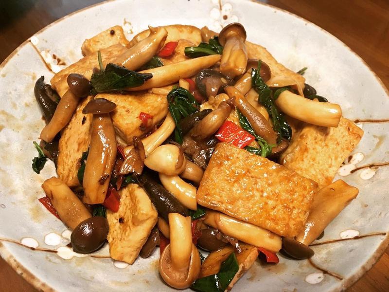 三杯菇菇豆腐(素食)