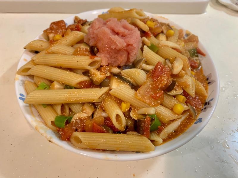 明太子番茄筆管麵