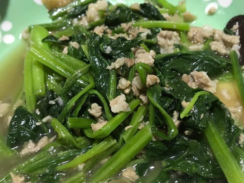 瓜仔肉炒菠菜