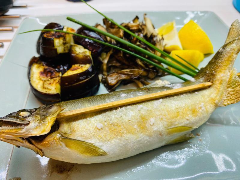 日式烤蔬菜與香魚