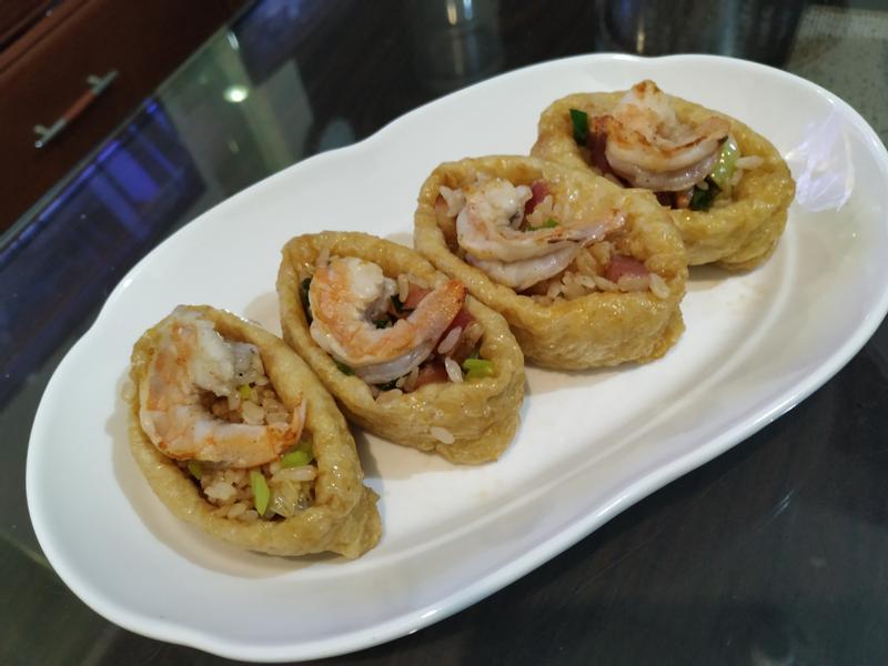 豆皮壽司(蝦仁培根飯)