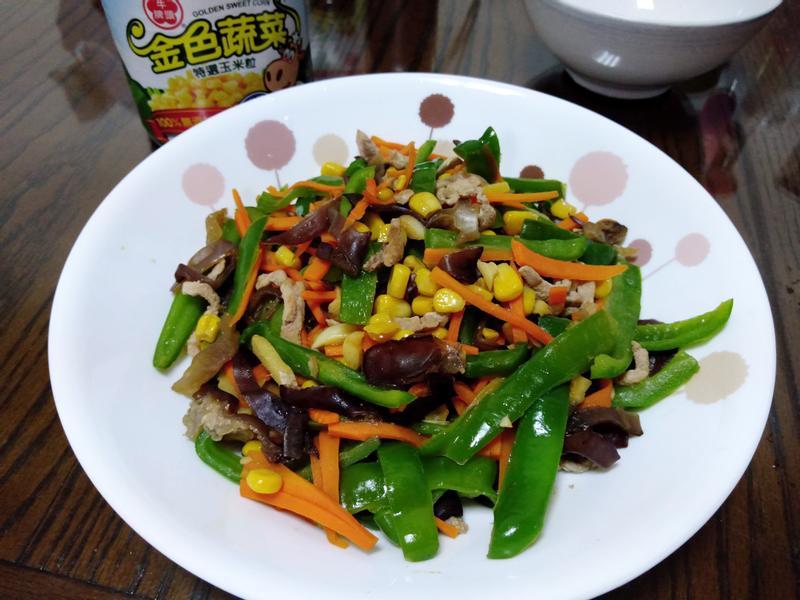 青椒玉米炒肉絲