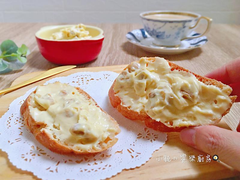 核桃乳酪抹醬。只要四種材料