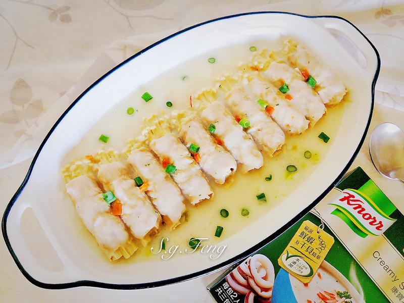 金針菇肉捲佐北歐風海鮮濃湯