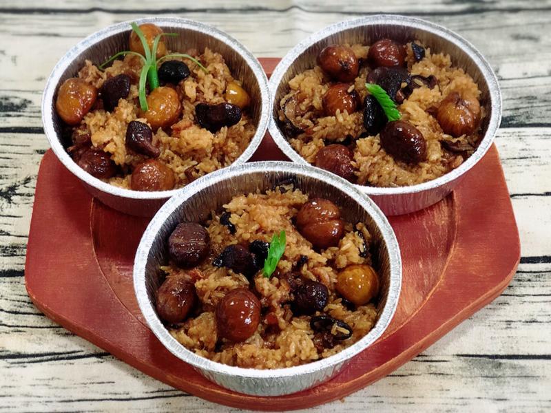 無肉的栗子油飯(水波爐料理)