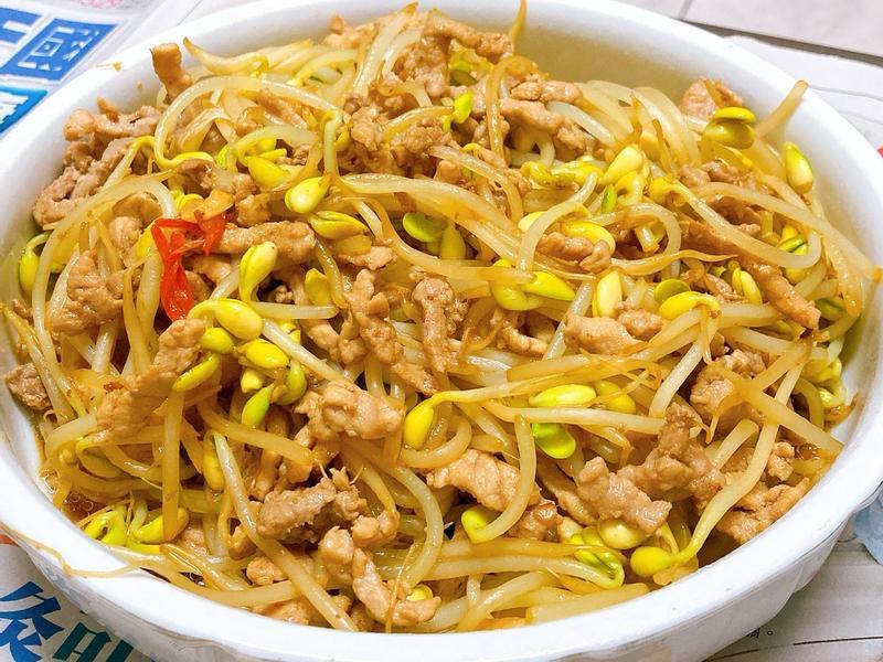 黃豆芽炒肉絲