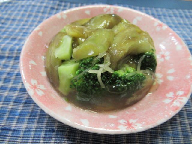 綠花椰菜烤茄子寒天