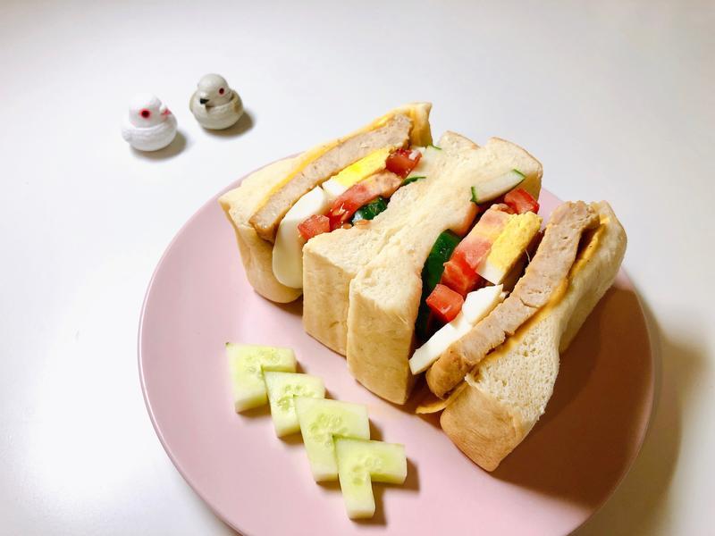 經典起司雞漢堡排三明治#健康無油煙版