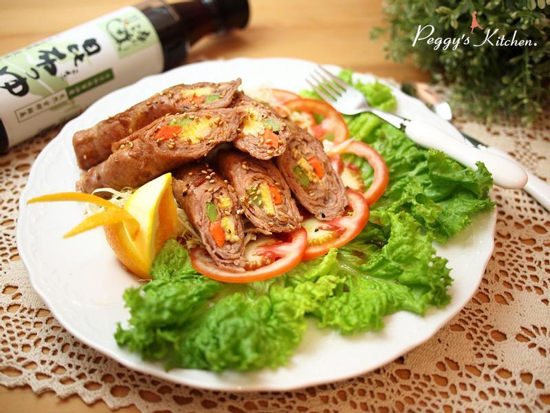 《Peggy廚房》千層豬肉鮮蔬捲佐薑汁醬