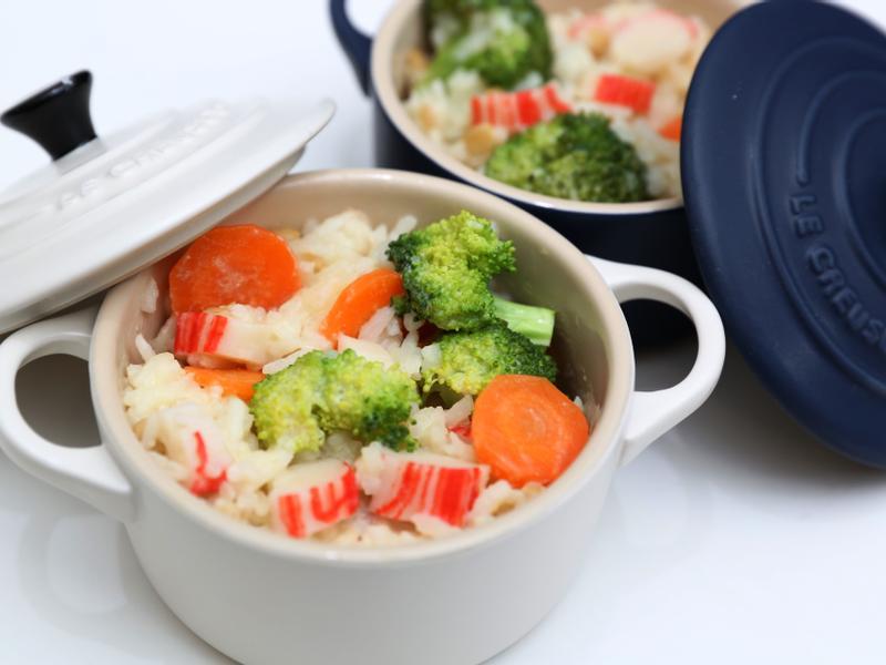 雜菜蟹柳豆漿燉飯