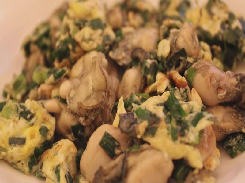 牡蠣/鮮蚵+韭菜+雞蛋=壯陽(相傳食補)